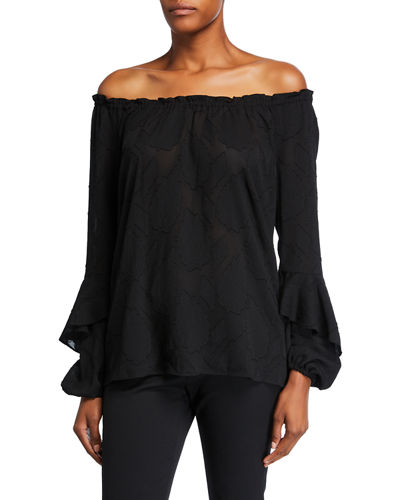Leaf Jacquard Off-the-Shoulder Long-Sleeve Top