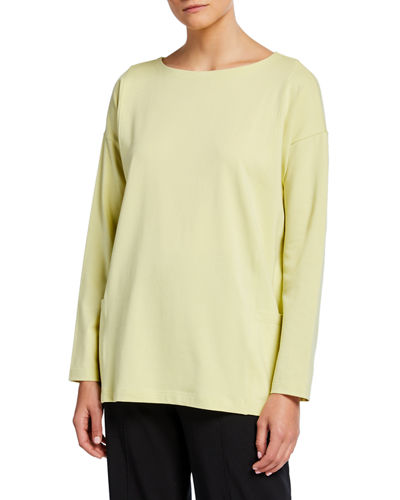 Plus Size Bateau-Neck Long-Sleeve Jersey Pocket Top