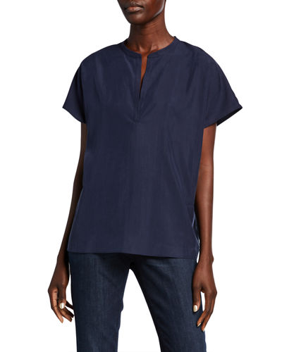 Sandwash Split-Neck Short-Sleeve Top