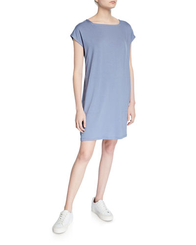 Petite Square-Neck Short-Sleeve Jersey Shift Dress