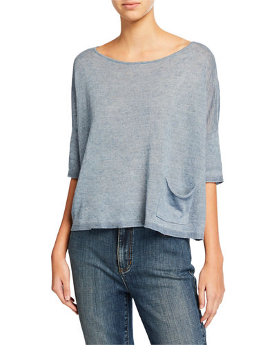 Eileen Fisher Organic Linen Delave Ballet-Neck Elbow-Sleeve Box Top