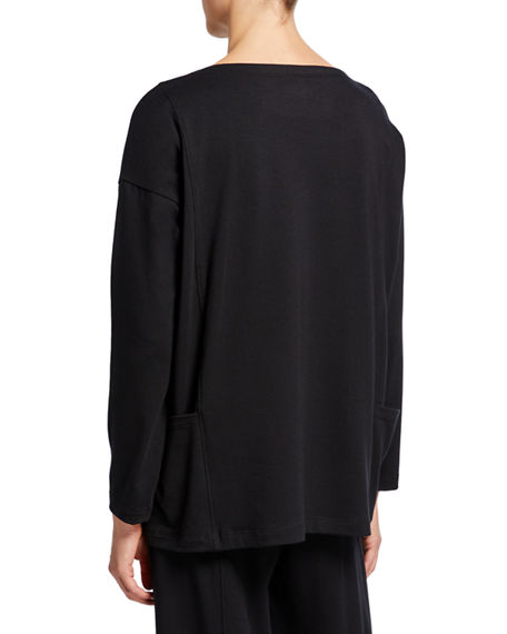 Image 2 of 3: Eileen Fisher Bateau-Neck Long-Sleeve Jersey Pocket Top