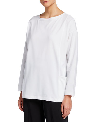 Bateau-Neck Long-Sleeve Jersey Pocket Top