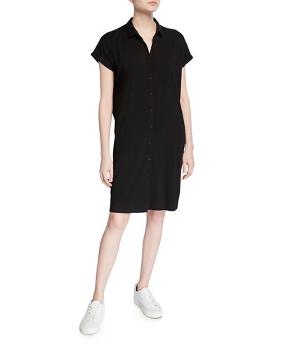 Jersey Button-Front Short-Sleeve Dress with Collar