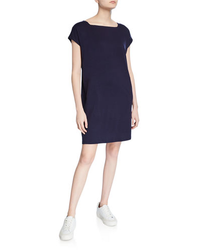 Square-Neck Short-Sleeve Jersey Shift Dress