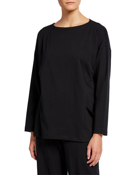 Image 1 of 3: Eileen Fisher Petite Bateau-Neck Long-Sleeve Jersey Pocket Top