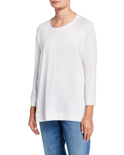 Crewneck Long-Sleeve Jersey Top w/ Side Seams