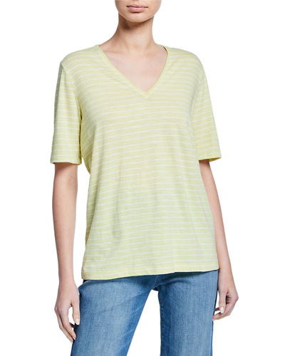 Striped V-Neck Short-Sleeve Organic Cotton Slub Tee