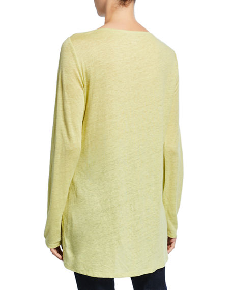 Image 2 of 3: Eileen Fisher Bateau-Neck Long-Sleeve Organic Linen Top