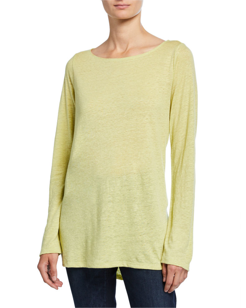 Eileen Fisher Bateau-Neck Long-Sleeve Organic Linen Top