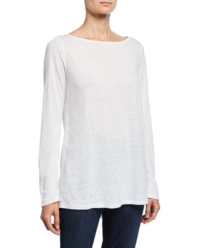 Plus Size Bateau-Neck Long-Sleeve Organic Linen Top