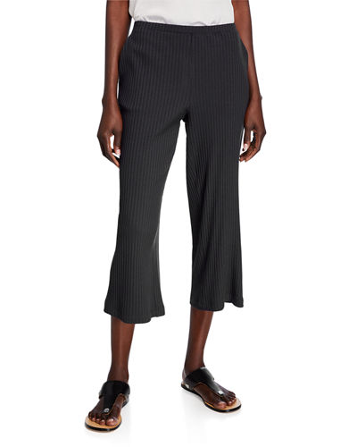Ribbed Straight-Leg Crop Pants
