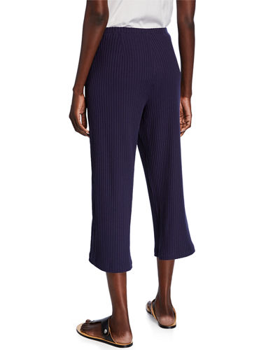 Eileen Fisher Ribbed Straight-Leg Crop Pants