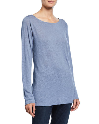 Eileen Fisher Petite Bateau-Neck Long-Sleeve Organic Linen Top
