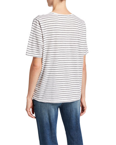 Eileen Fisher Petite Striped V-Neck Short-Sleeve Organic Cotton Slub Tee