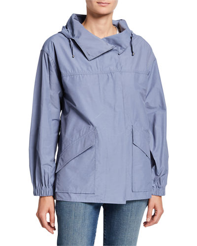 Eileen Fisher Petite Organic Cotton/Nylon Button-Front Hooded Shirttail-Hem Jacket
