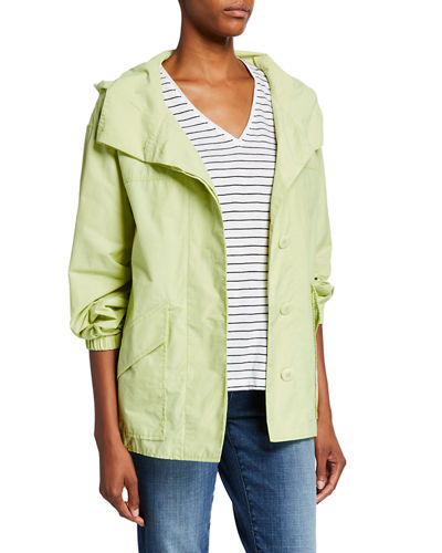 Petite Organic Cotton/Nylon Button-Front Hooded Shirttail-Hem Jacket