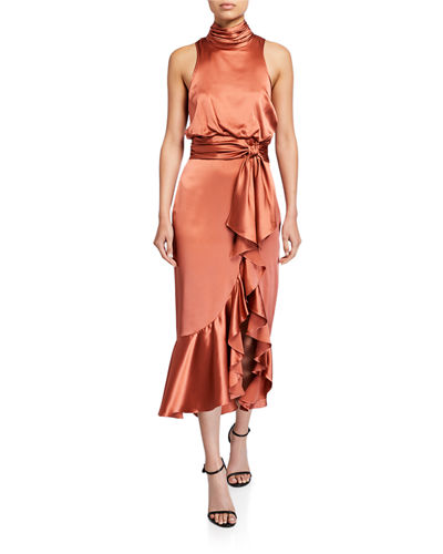 Winona High-Neck Satin Cocktail Dress