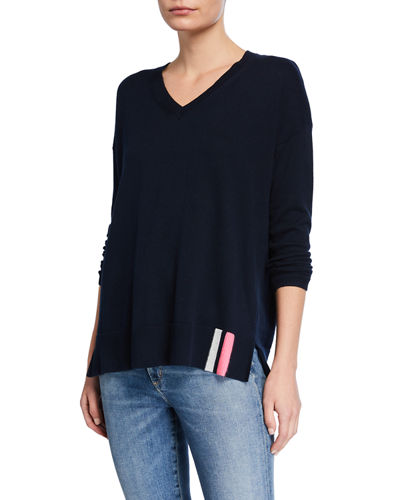 Petite Patch Perfect V-Neck Cotton/Cashmere Sweater w/ Sequin Elbow Patches