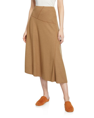 Paneled Wool-Blend Midi Skirt