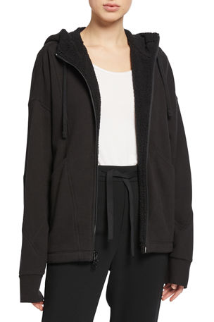 Vince Hooded Sherpa Zip-Front Jacket