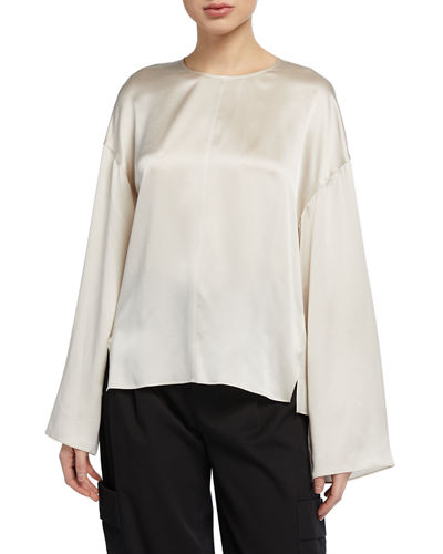 Seamed-Front Long-Sleeve Silk Blouse