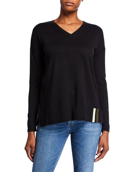 Lisa Todd Patch Perfect V-Neck Cotton/Cashmere Sweater w/ Sequin Elbow Patches