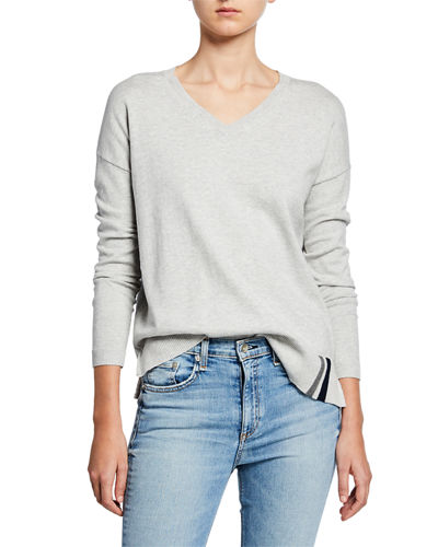 Patch Perfect V-Neck Cotton/Cashmere Sweater w/ Sequin Elbow Patches