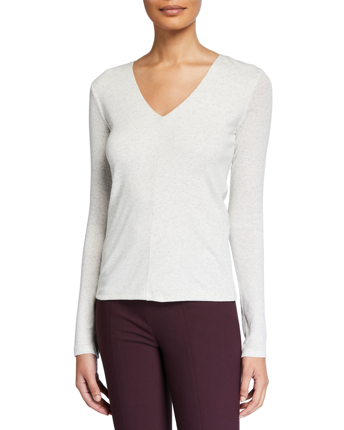 Vince Tops DEEP V-NECK LONG-SLEEVE COTTON TOP