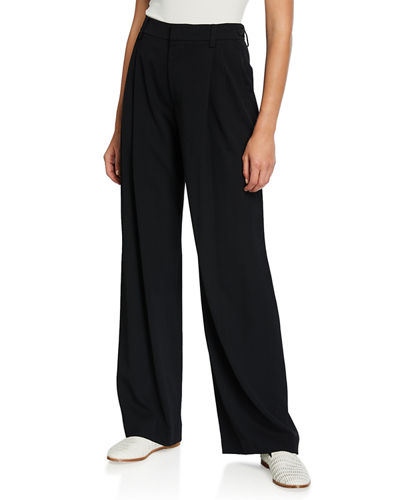 Wide-Leg Pleated Viscose Trousers