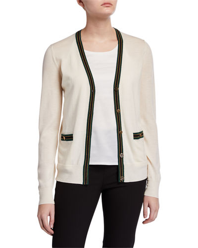 Madeline Wool V-Neck Button-Front Cardigan w/ Contrast Trim
