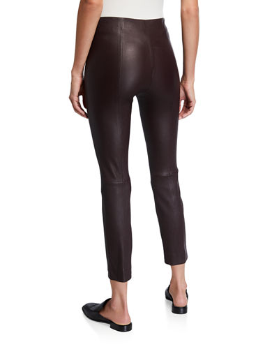 Vince Stitch-Back Cropped Leather Leggings