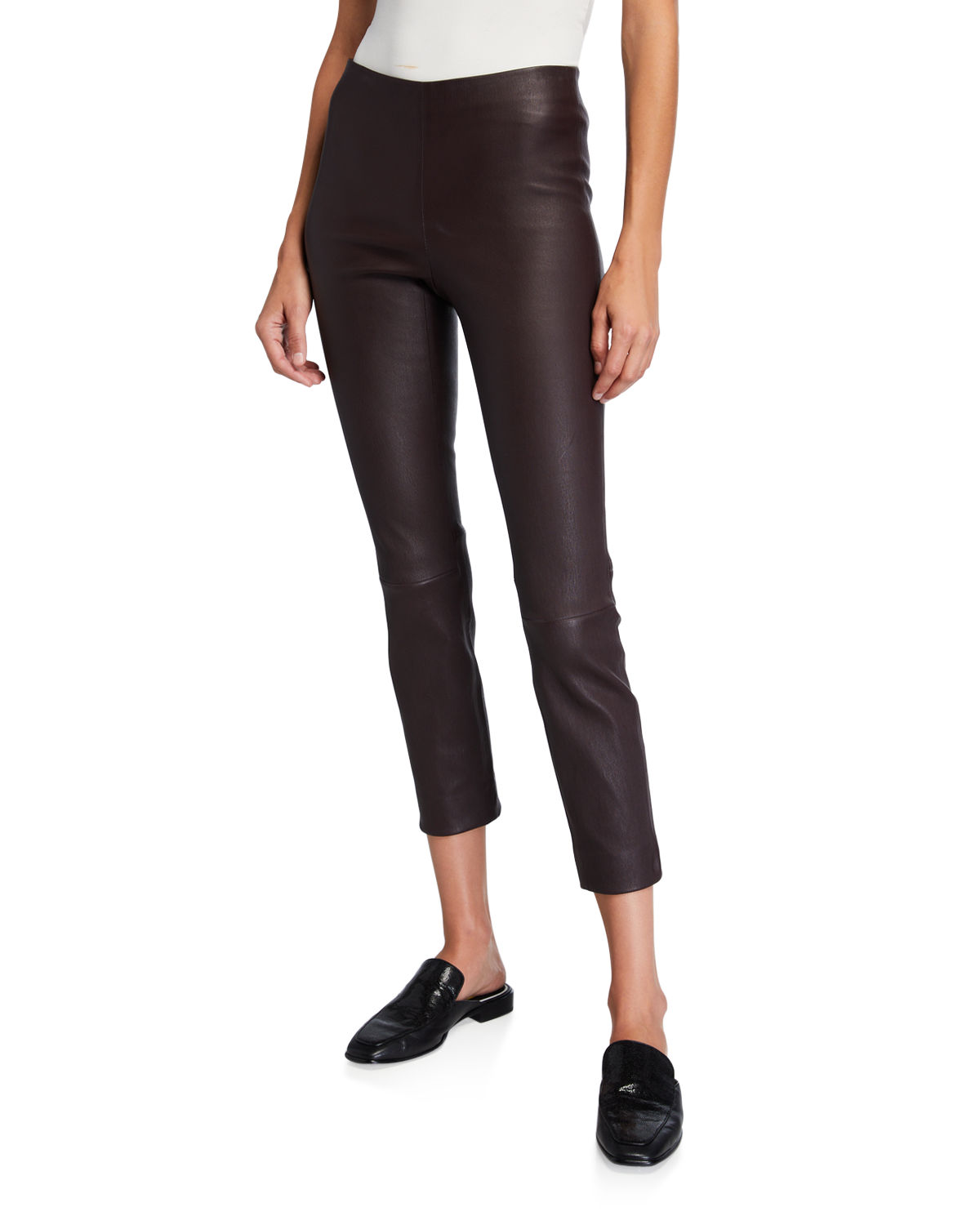 Stitch-Back Cropped Leather Leggings