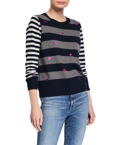 Lisa Todd Plus Size Skip A Beat Multi-Stripe Cotton/Cashmere Sweater w/ Embroidered Hearts