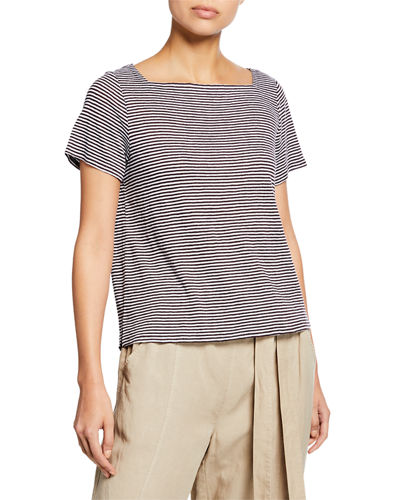 Plus Size Striped Square-Neck Short-Sleeve Jersey Linen Tee
