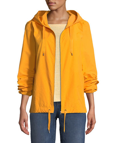 Hooded Zip-Front Long-Sleeve Cotton-Blend Jacket