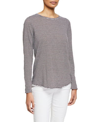 Striped Long-Sleeve Jersey Linen Shirttail-Hem Tee