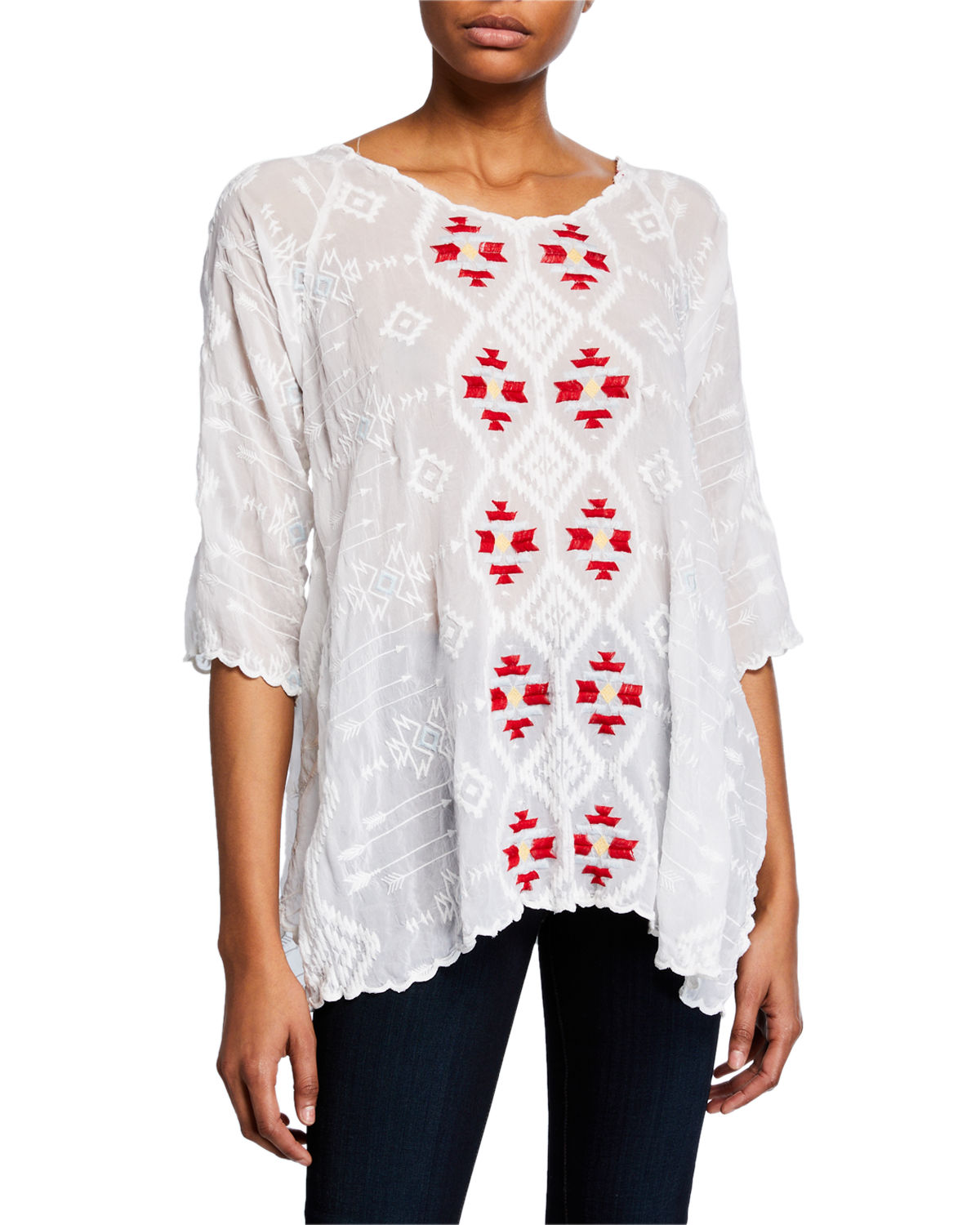Johnny Was Tops ASHER 3/4-SLEEVE EMBROIDERED TUNIC