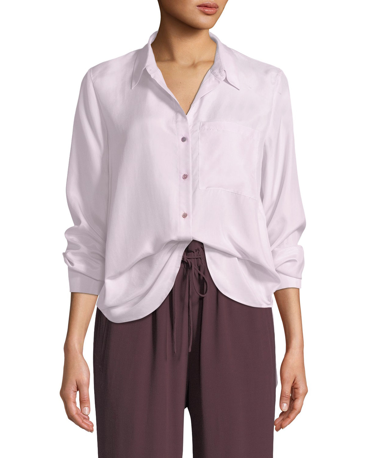 Eileen Fisher Tops WASHED SILK HABUTAI LONG-SLEEVE BUTTON-FRONT BLOUSE