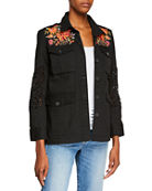 Johnny Was Violette Button-Front Military Jacket with Eyelet