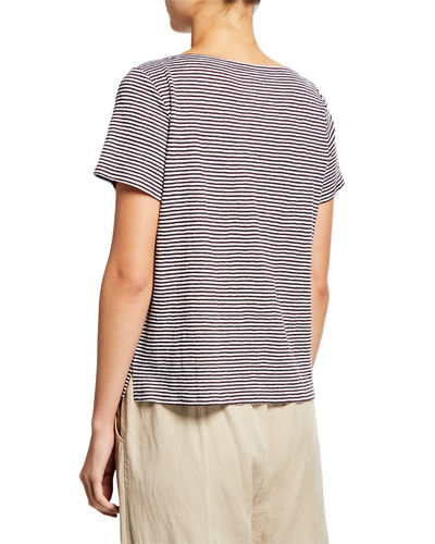 Eileen Fisher Square-Neck Short-Sleeve Striped Jersey Linen Tee