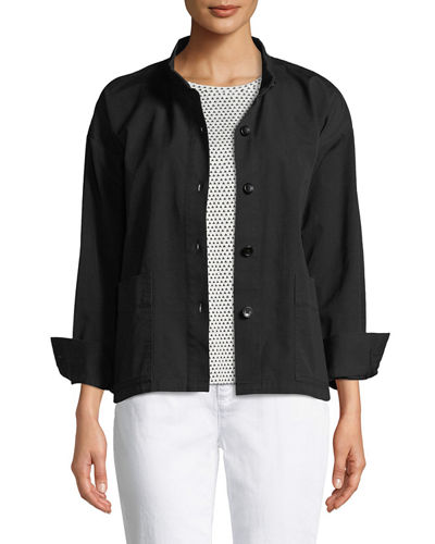 Button-Front Long-Sleeve Boxy Canvas Jacket