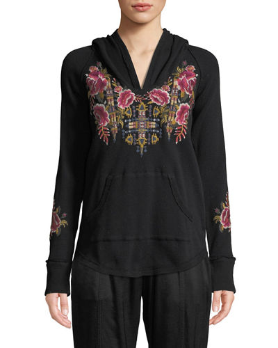 Petite Axton Thermal Pullover Hoodie with Embroidery