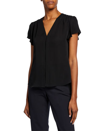 Celina V-Neck Short-Sleeve Silk Top