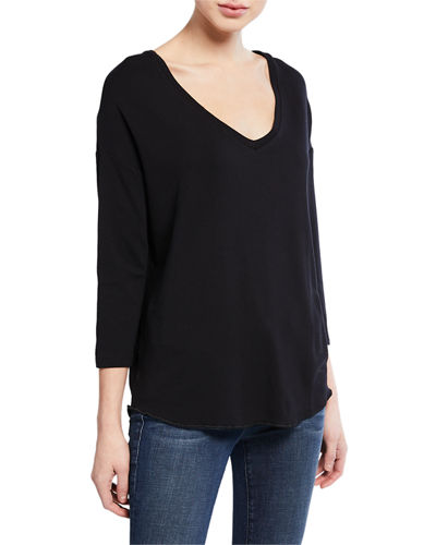 V-Neck Dropped-Shoulder 3/4-Sleeve French-Terry T-Shirt