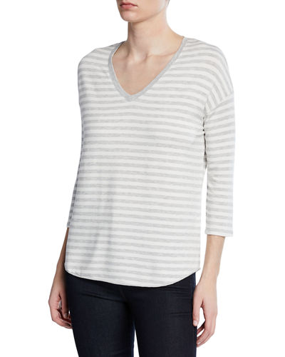 Striped V-Neck 3/4-Sleeve Sweater
