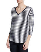Majestic Paris for Neiman Marcus Striped V-Neck 3/4-Sleeve
