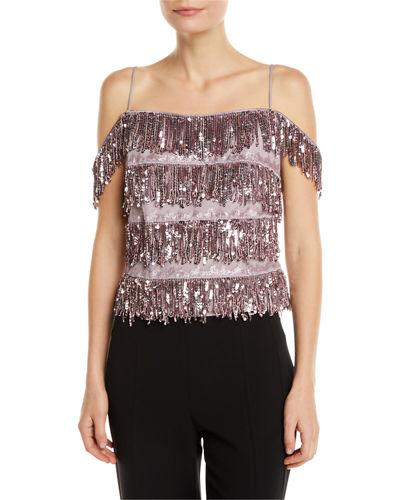 752d4a73 Quick Look. Aidan by Aidan Mattox · Sequin Tiered Fringe Top
