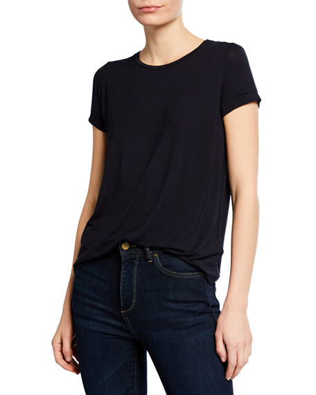 Majestic Filatures Crewneck Short-Sleeve Tee with Inverted Back Pleat