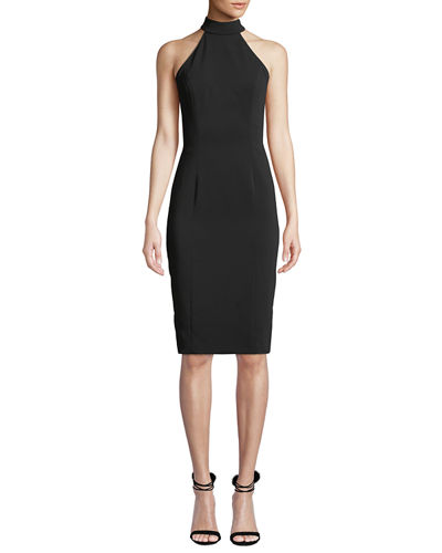 Meghan Sleeveless Halter-Neck Open-Back Sheath Dress
